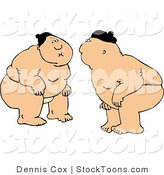Stock Cartoon of a Sumo Fighters by Dennis Cox