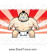 Stock Cartoon of a Sumo Wrestler on a Red Ray Background by Cory Thoman