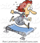 Stock Cartoon of a Sweaty Business Woman Running by Ron Leishman