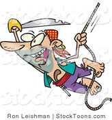 Stock Cartoon of a Swinging Pirate with a Sword by Toonaday