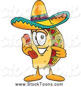 Stock Cartoon of a Taco Character Holding a Telephone by Toons4Biz
