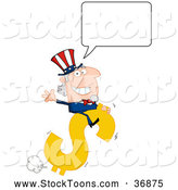Stock Cartoon of a Talking Uncle Sam Riding a Bucking Dollar Symbol by Hit Toon