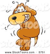Stock Cartoon of a Tearful Brown Dog Mascot Cartoon Character Trying to Hold It In, but Has to Go Pee by Toons4Biz