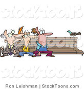 Stock Cartoon of a Three Men at Different Ages, Sitting on a Bench by Toonaday