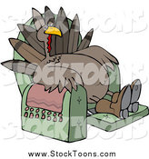 Stock Cartoon of a Tired Turkey Bird Lounging in a Recliner Chair by Djart
