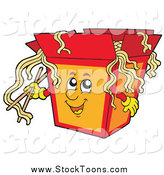 Stock Cartoon of a to Go Container of Chinese Noodles by Visekart
