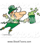 Stock Cartoon of a Toasting Leprechaun with Green Beer by Toonaday