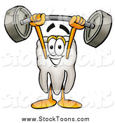Stock Cartoon of a Tooth Mascot Lifting a Barbell over His Head by Toons4Biz