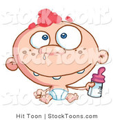 Stock Cartoon of a Toothy Baby with Freckles by Hit Toon