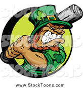Stock Cartoon of a Tough Baseball Leprechaun Holding a Bat by Chromaco