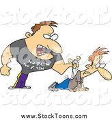 Stock Cartoon of a Tough Bugg Male Trainer Making His Client Do Pushups by Toonaday