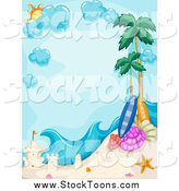Stock Cartoon of a Tropical Beach Border with a Sand Castle by BNP Design Studio