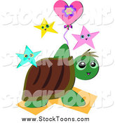 Stock Cartoon of a Turtle with Stars and a Floral Heart Balloon by