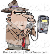 Stock Cartoon of a Undercover Detective Talking Secretively on a Telephone by Toonaday