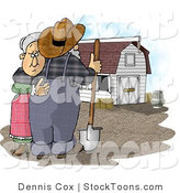 Stock Cartoon of a Upset Farmer Wife Hugging Her Husband by Dennis Cox