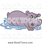 May 26th, 2015: Stock Cartoon of a Wading Happy Purple Hippo by Visekart