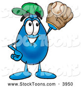 December 18th, 2013: Stock Cartoon of a Water Drop Cartoon Character Catching a Baseball by Toons4Biz