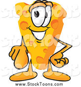 Stock Cartoon of a Wedge of Cheese Mascot Pointing Outwards at the Viewer by Toons4Biz