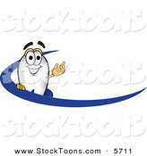 Stock Cartoon of a White Blimp Mascot Cartoon Character with a Blue Dash by Toons4Biz