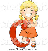 Stock Cartoon of a White Blond Girl with the Letter C by BNP Design Studio