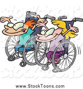 Stock Cartoon of a White Boy and Girl Ready for a Wheelchair Race by Toonaday