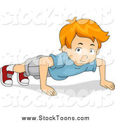 Stock Cartoon of a White Boy Doing Push Ups by BNP Design Studio