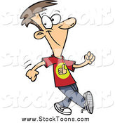 Stock Cartoon of a White Boy Walking with a Good Attitude by Toonaday