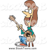 Stock Cartoon of a White Brunette Female Guitarist Sitting on a Stool by Toonaday