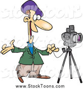 Stock Cartoon of a White Male Friendly Photographer by Toonaday