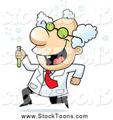 Stock Cartoon of a White Male Scientist Running with a Test Tube by Cory Thoman