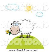 Stock Cartoon of a White Sheep Eating a Daisy Flower on a Sunny Day by Hit Toon