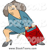 Stock Cartoon of a White Woman Lugging a Heavy Gas Can by Dennis Cox