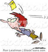 Stock Cartoon of a Woman Chasing a Yellow Memo Slip by Ron Leishman