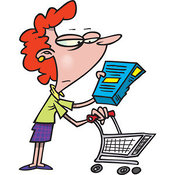 Stock Cartoon of a Woman in a Grocery Store by Toonaday