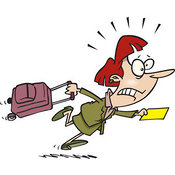 Stock Cartoon of a Woman in a Hurry to Catch Her Flight by Ron Leishman