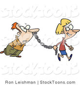 Stock Cartoon of a Woman Leading a Man on a Metal Chain by Toonaday