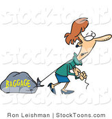 Stock Cartoon of a Woman Pulling a Heavy Bag by Toonaday