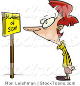 Stock Cartoon of a Woman Reading a Sign That Says Beware by Ron Leishman