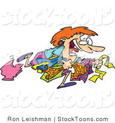 Stock Cartoon of a Woman Running to Get the Best Bargain by Ron Leishman