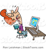 Stock Cartoon of a Woman Screaming and Crying in Frustration by Ron Leishman