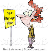 Stock Cartoon of a Woman Staring at a Yellow Sign by Toonaday