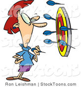 Stock Cartoon of a Woman Throwing Darts by Ron Leishman