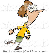Stock Cartoon of a Woman Walking with a Determined Expression by Toonaday