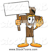 Stock Cartoon of a Wooden Christian Cross Mascot Cartoon Character Holding a Blank Sign by Toons4Biz