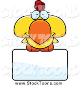 September 30th, 2014: Stock Cartoon of a Yellow Rooster Chick over a Sign by Cory Thoman