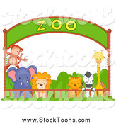 October 18th, 2014: Stock Cartoon of a Zoo Animals Under an Entry Banner by BNP Design Studio
