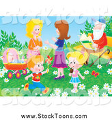 Stock Cartoon of Adults and Children in a Park on a Spring Day by Alex Bannykh