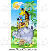 Stock Cartoon of an African Tortoise, Elephant, Giraffe and Parrot by Visekart