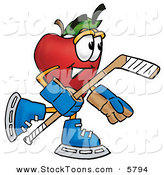 Stock Cartoon of an Athletic Nutritious Red Apple Character Mascot Playing Ice Hockey by Toons4Biz