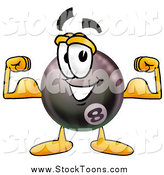 Stock Cartoon of an Eight Ball Flexing His Arm Muscles by Toons4Biz